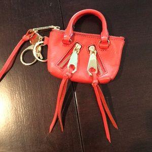 Rebecca Minkoff red key fob coin purse bag moto